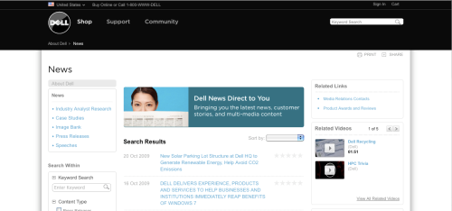 screen capture from Dell's online newsroom